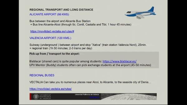 Bienvenida estudiantes intercambio - transporte y movilidad (Alcoi-Alcoy)