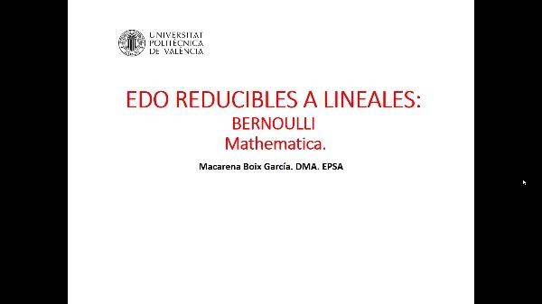 Ecuaciones diferenciales. Bernoulli. Mathematica