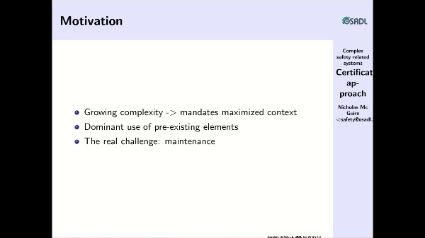 Approaching certification of complex systems