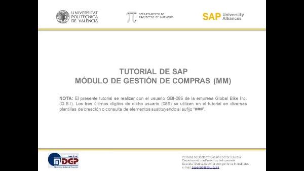 Tutorial de SAP: Gestión de Materiales y Compras (MM) (Ejercicio SAP UA)
