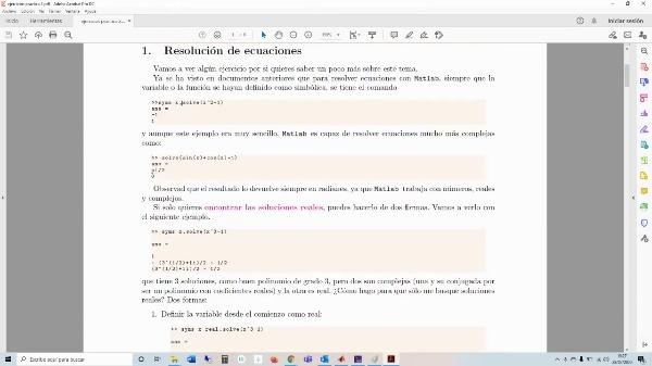 Profundizando en la resolución de ecuaciones con matlab