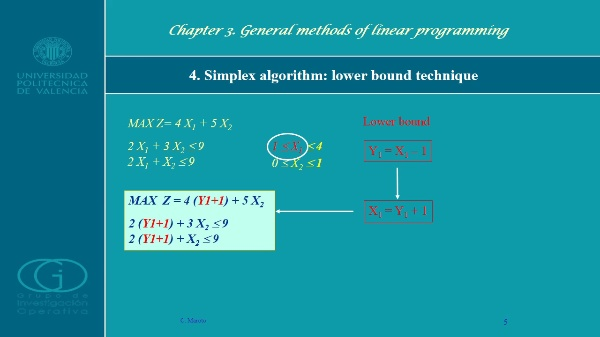 Simplex algorithm: lower and upper bounds