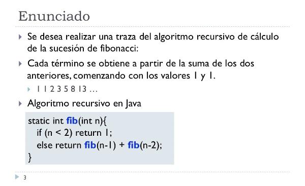 [PRG-OA] Traza del Algoritmo Recursivo de Cálculo de la Sucesión de Fibonacci