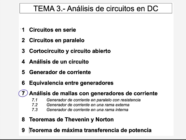 Teoría de Circuitos: 3.7.1.- Mallas con generador de corriente en paralelo con resistencia