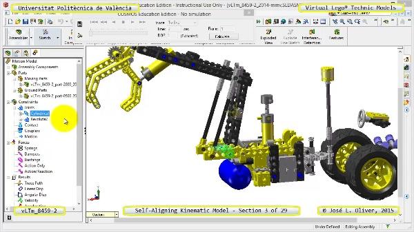 Simulación Cinemática Lego Technic 8459-2 con Cosmos Motion ¿ 03 de 29
