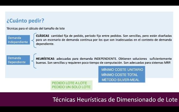 MRP Técnicas Heurísticas de Dimensionado de Lote