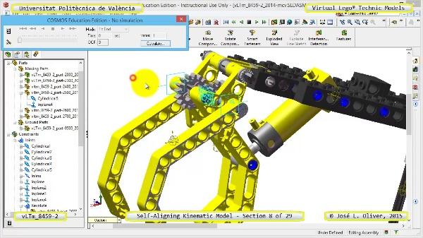 Simulación Cinemática Lego Technic 8459-2 con Cosmos Motion ¿ 08 de 29