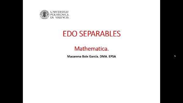 Ecuaciones diferenciales separables. Mathematica