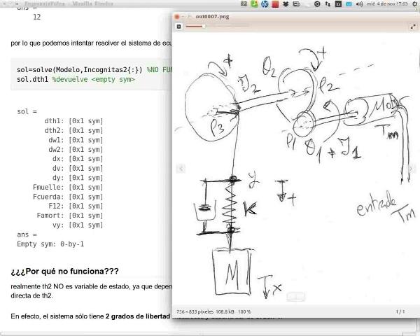 Sistema engranajes y poleas (lineal): representación en variables de estado