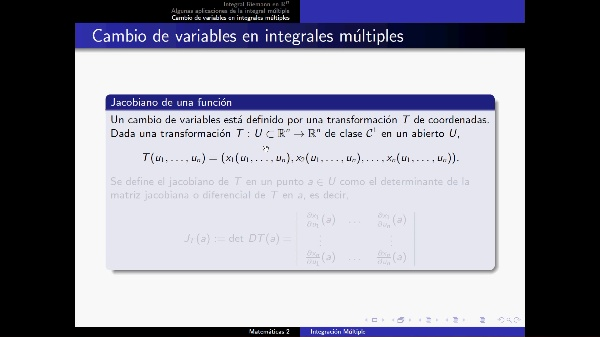 Integrales múltiples 3: Cambio de variables