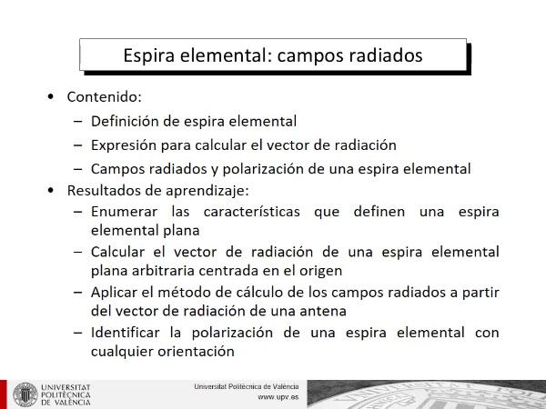 Espira elemental: campos radiados
