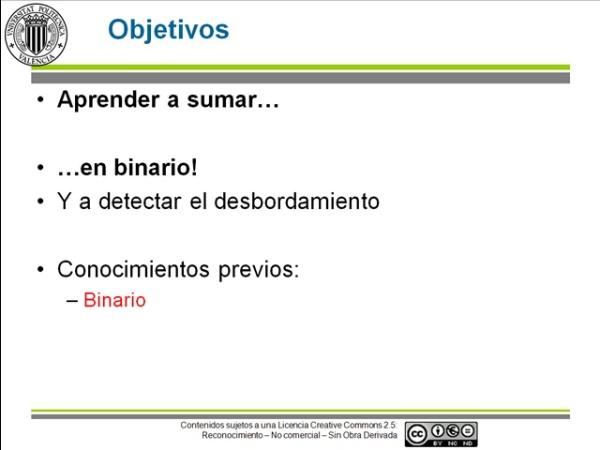 Operaciones en binario: la suma aritmética