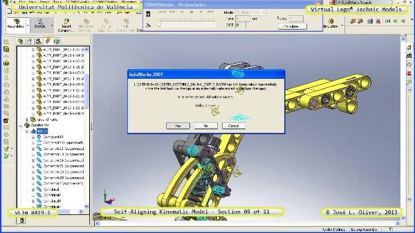 Simulación Cinemática Lego Technic 8419-1 con Cosmos Motion ¿ 09 de 11 - no audio