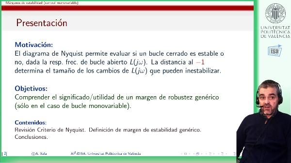 Márgenes de estabilidad basados en criterio de Nyquist: motivación y definición genérica