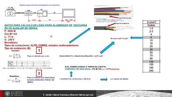 Cálculo línea eléctrica para alumbrado de descarga en un auxiliar de obras