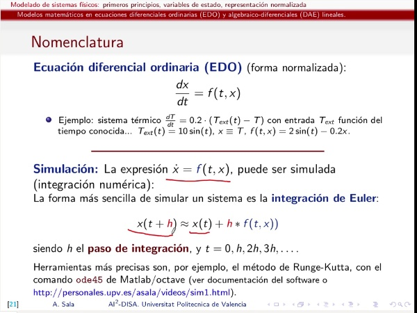 Modelado sistemas físicos en ecuaciones algebraico-diferenciales (DAE) y (ODE)