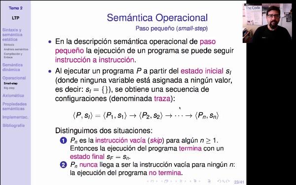 LTP. Tema 2.3.4. Semántica operacional de paso pequeño (small-step)