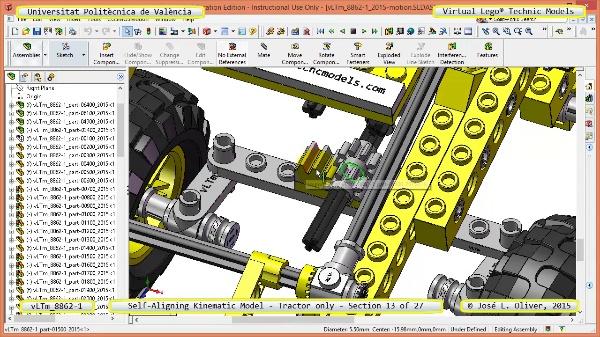 Simulación Dinámica Lego Technic 8862-1 - Tractor - sobre Base - 13 de 27