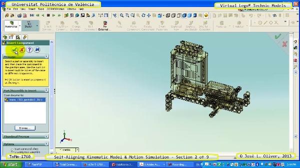 Simulación Dinámica Lego Technic T-1760 sobre Base ¿A- 2 de 9