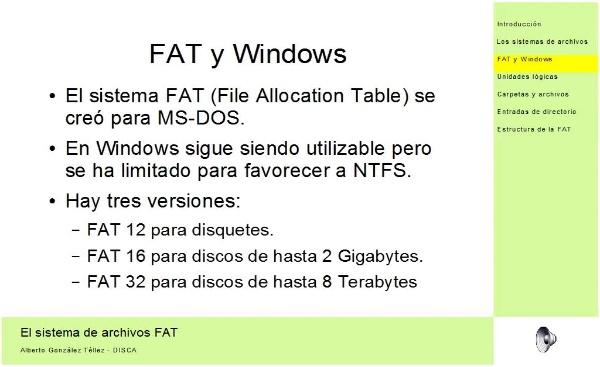 El sistema de archivos FAT