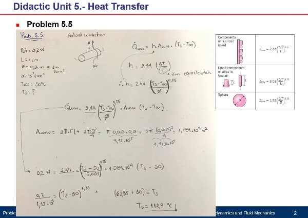 Didactic Unit 5. Heat Transfer - Problem 5.5