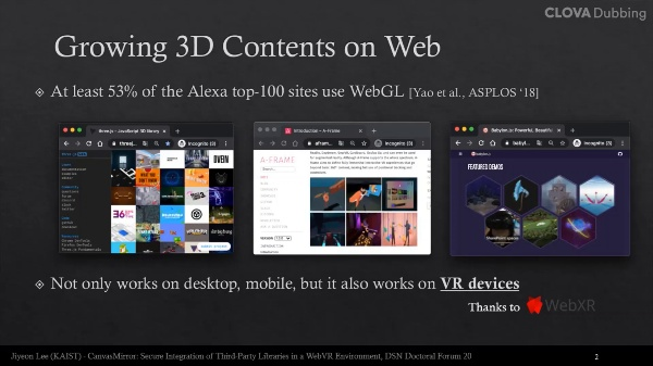 CanvasMirror: Secure Integration of Third-Party Library in WebVR Environment