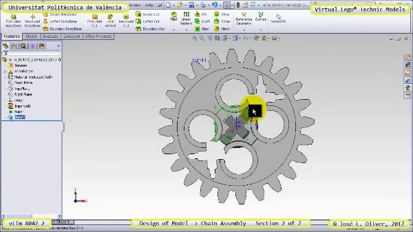 Creación Virtual Lego Technic 8047-2 ¿ Montaje de una Cadena ¿ 2 de 7
