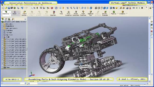 Simulación Cinemática Lego Technic 8432-1 con Cosmos Motion ¿ 10 de 24 - no audio