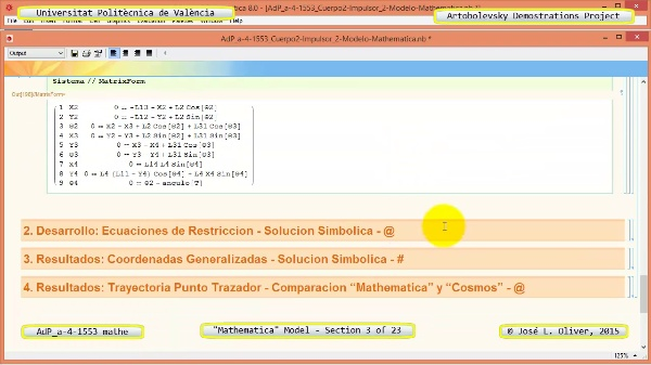 Solución Cinemática Simbólica a-4-1553 con Mathematica - 03 de 23 - Modelo Mathematica