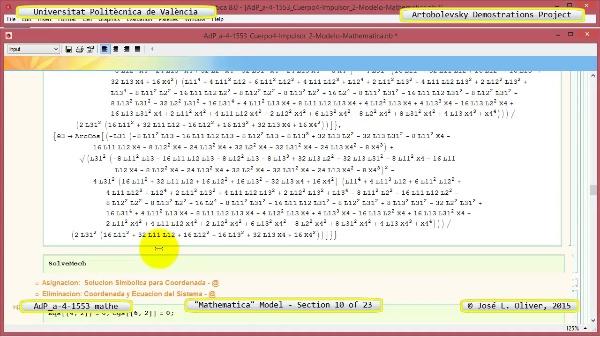 Solución Cinemática Simbólica a-4-1553 con Mathematica - 10 de 23 - Modelo Mathematica