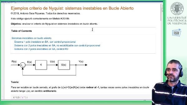 Criterio de Nyquist: ejemplo Matlab (sistemas inestables en bucle abierto)