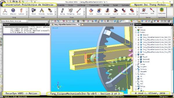Simulación Cinemática Tang_EllipseMechanism3cInv-7p-v8r5 con Recurdyn - EngTa - 2 de 3
