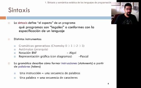 Tema 2. Sintaxis y semántica estática de los lenguajes de programación