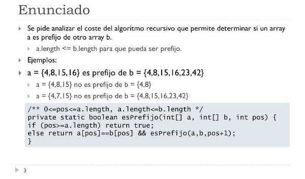 [PRG-OA] Complejidad Temporal Asintótica del Algoritmo Recursivo para Determinar si un Array es Prefijo de Otro