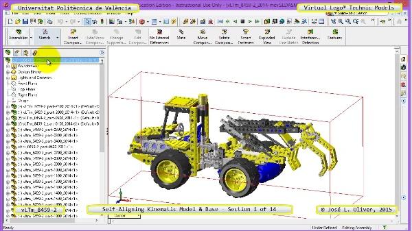 Simulación Dinámica Lego Technic 8459-2 sobre Base ¿ 01 de 14