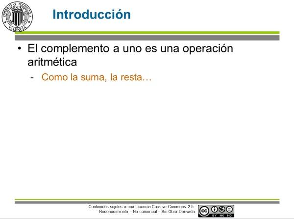 Operaciones en binario: el complemento a uno