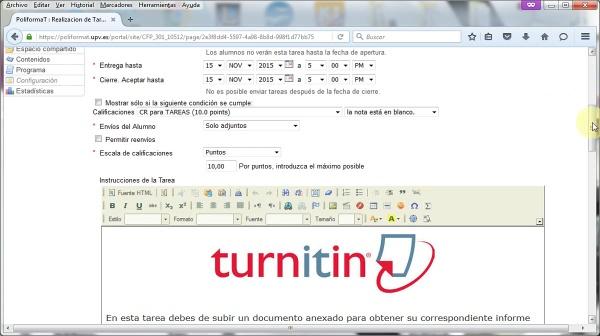 Configuración de Turnitin en Tareas