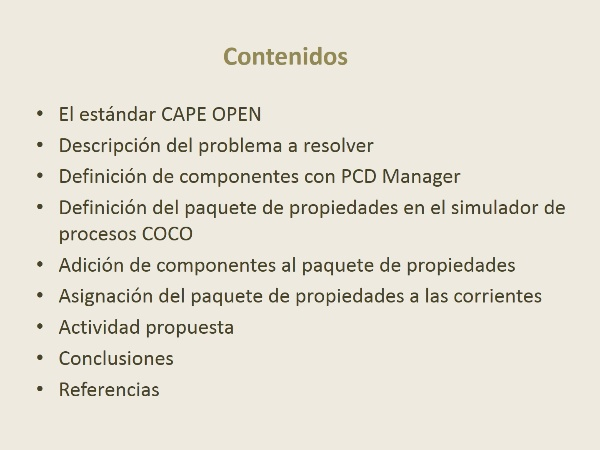Definición de paquetes de propiedades y componentes en un simulador de procesos CAPE-OPEN