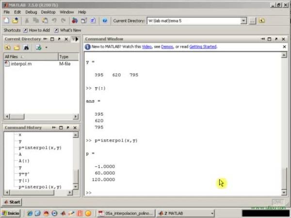 Tema 5. Interpolación polinómica. Ejemplo. Rendimiento de una factoría.