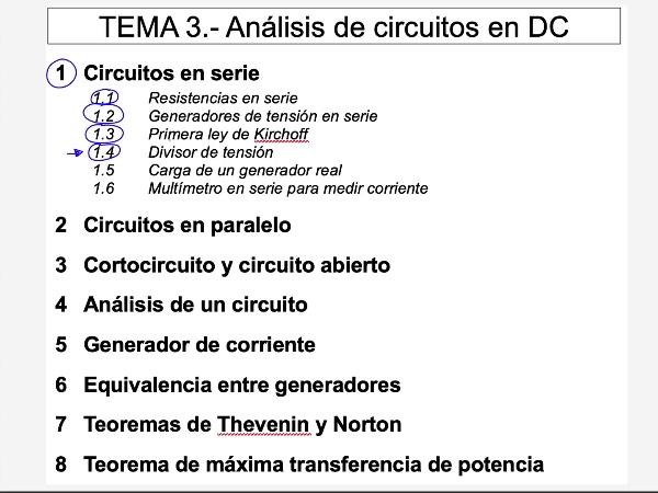 Teoría de Circuitos 1. Lección 3. 1.4.3 Divisor de tensión ejemplo 2