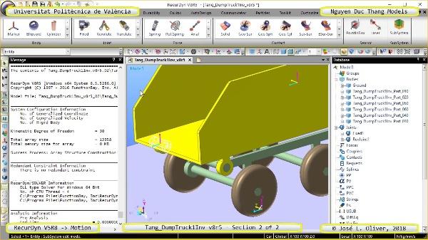 Simulación Cinemática Tang_DumpTruck1Inv-v8r5 con Recurdyn - AdP-t - 2 de 2