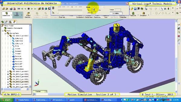 Simulación Dinámica Lego Technic 8042-3 sobre Base 2 de 3