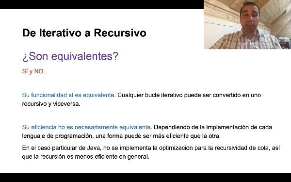 Conversión de Iterativo a Recursivo