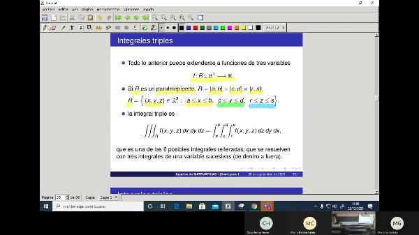 Matemáticas 1 GIOI grupo V  Clase 30 (Integrales dobles 2)