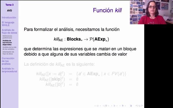 AVD - Definición de funciones kill y gen para análisis de expresiones disponibles