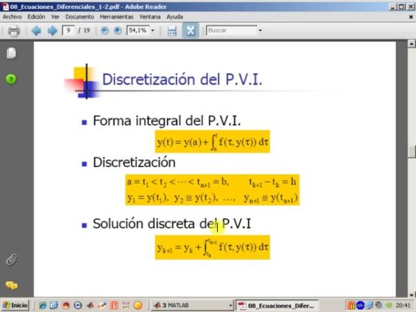 Tema 8. Ecuaciones diferenciales ordinarias. Discretización de un PVI. Introducción al método de Euler