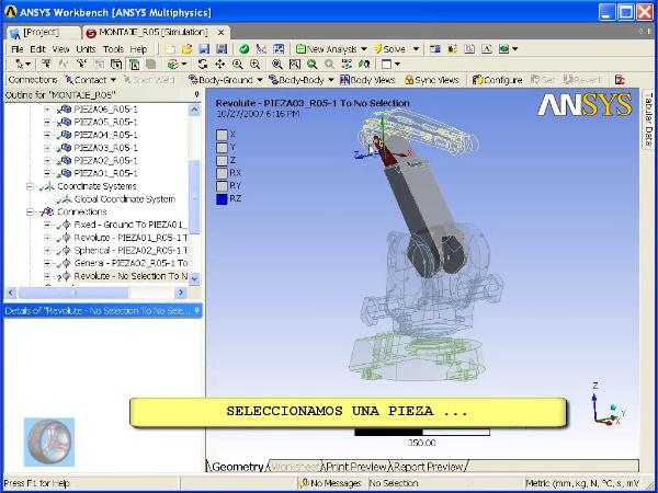 Montaje de un robot ABB con Ansys Workbench. Tramo 03 DE 07