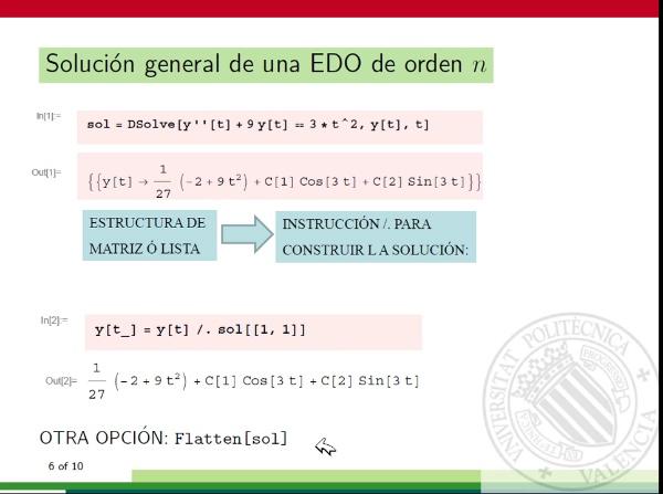 Ecuaciones diferenciales con Mathematica: solución general de una ecuación diferencial ordinaria de orden n