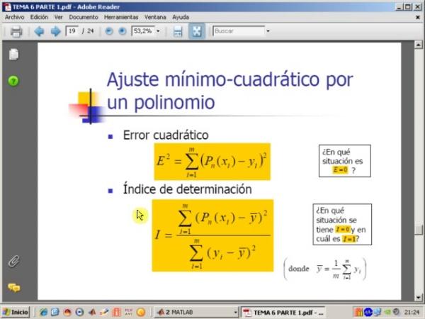 Tema 6. Aproximación mínimo-cuadrática. Cambio de origen Parábola (y 2). Ajuste mínimo cuadrático por un polinomio, índice de determinación y algoritmo min_cua (1)