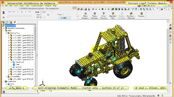 Simulación Dinámica Lego Technic 8862-1 - Tractor - sobre Base - 19 de 27